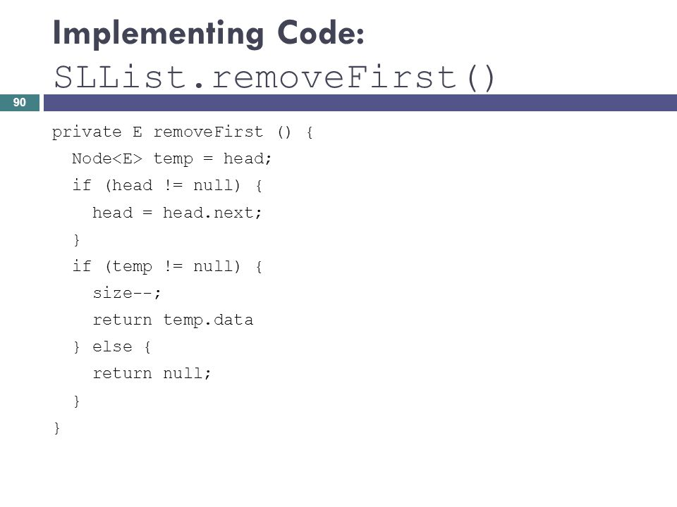Implementing Code: SLList.removeFirst()