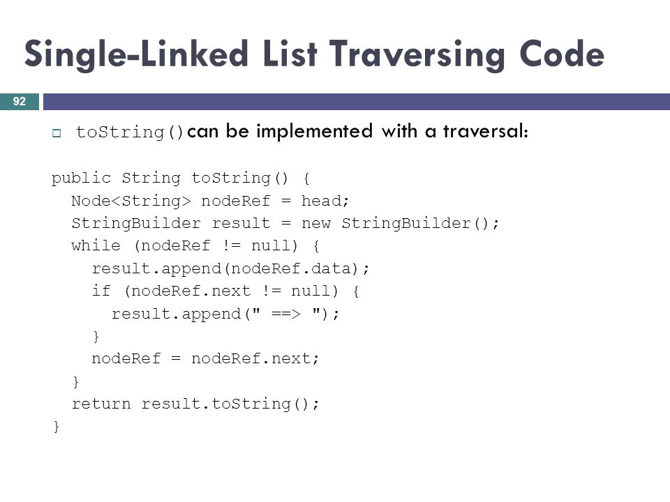 Single-Linked List Traversing Code