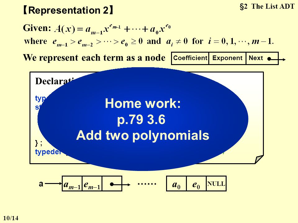 Home work: p.79 3.6 Add two polynomials