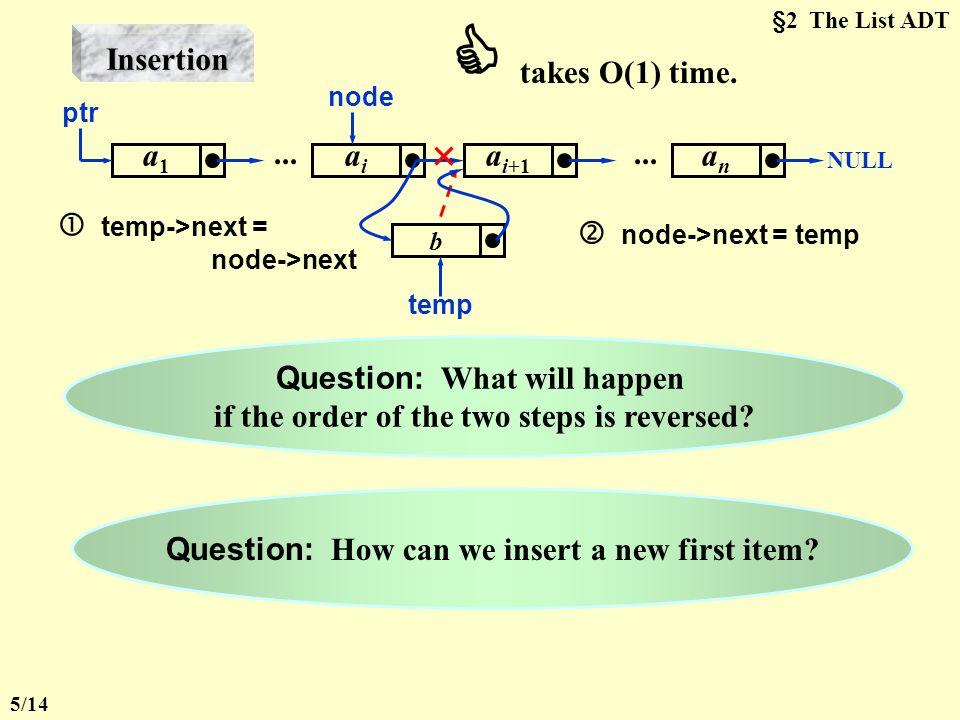  takes O(1) time. Insertion a1 ai ai+1 an ...  temp->next =