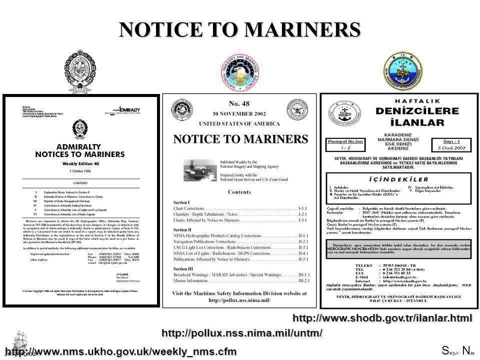 NOTICE TO MARINERS http://www.shodb.gov.tr/ilanlar.html