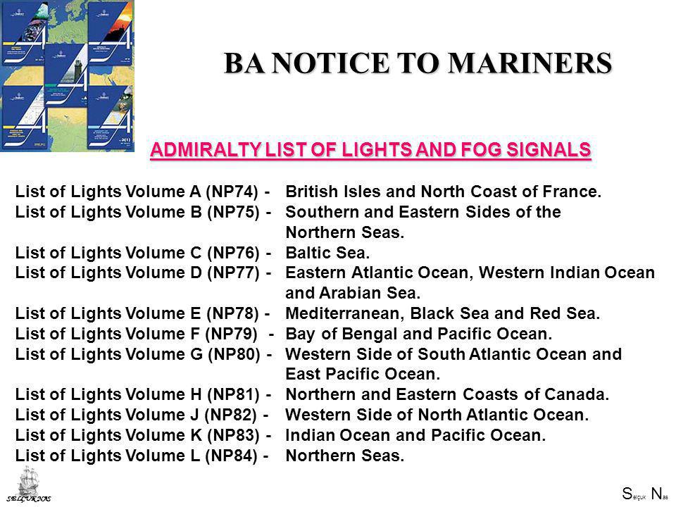 BA NOTICE TO MARINERS ADMIRALTY LIST OF LIGHTS AND FOG SIGNALS