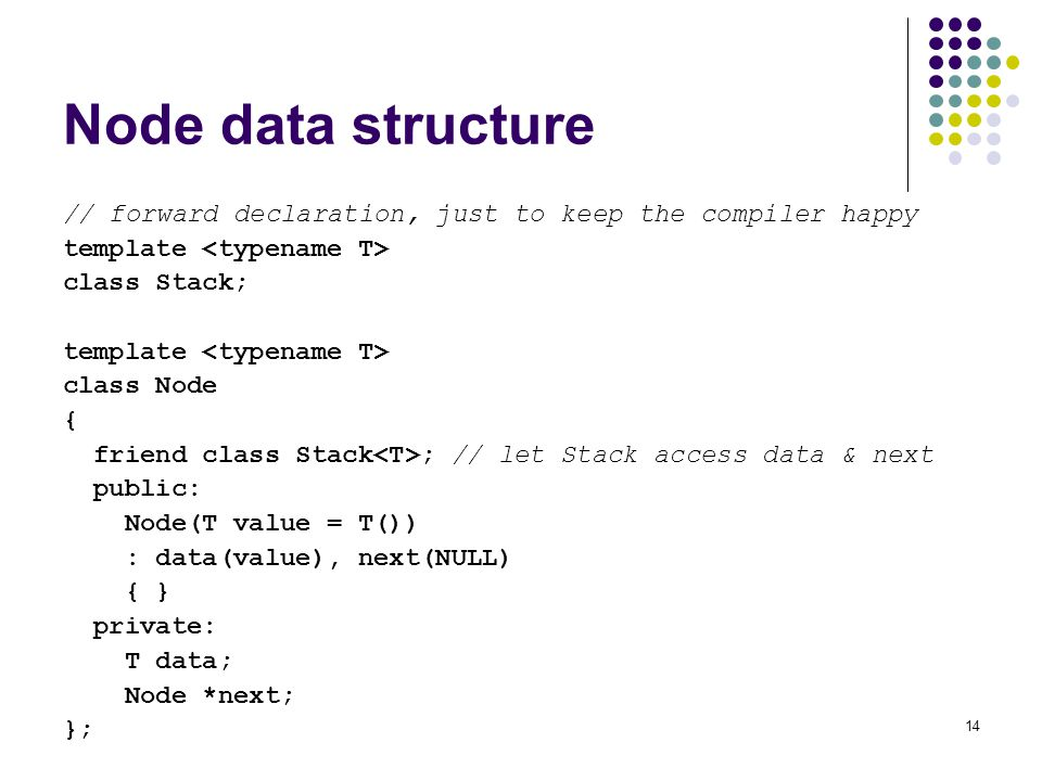 Node data structure // forward declaration, just to keep the compiler happy. template <typename T>