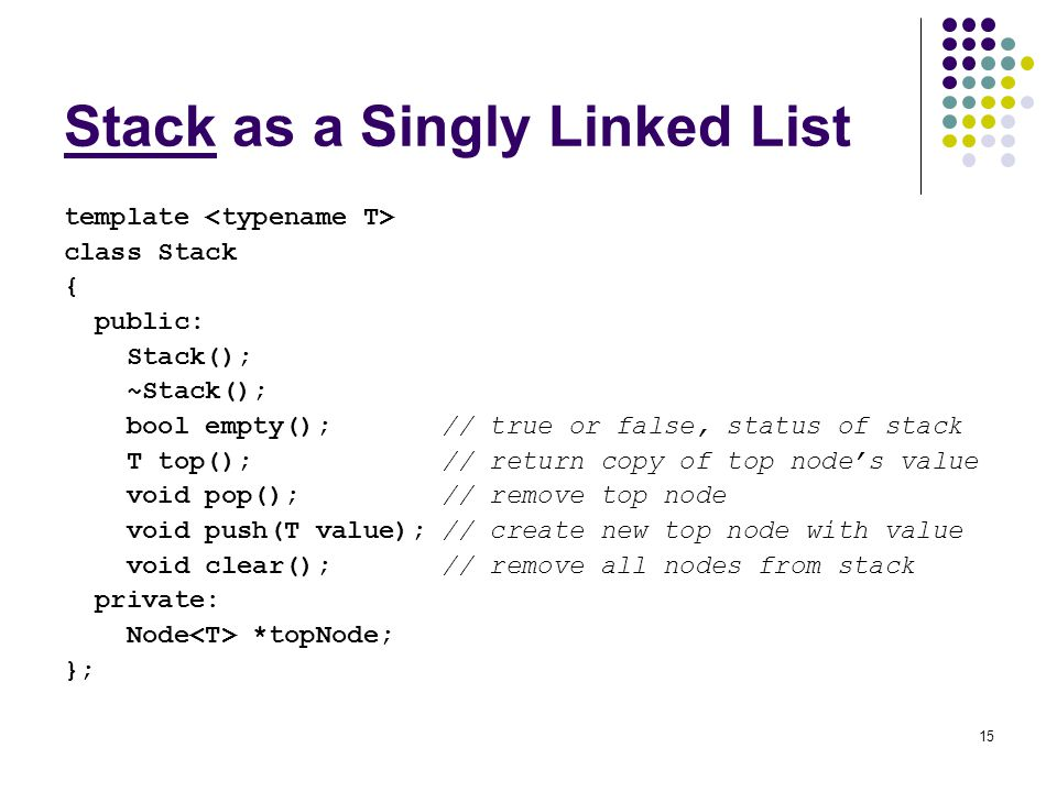Stack as a Singly Linked List
