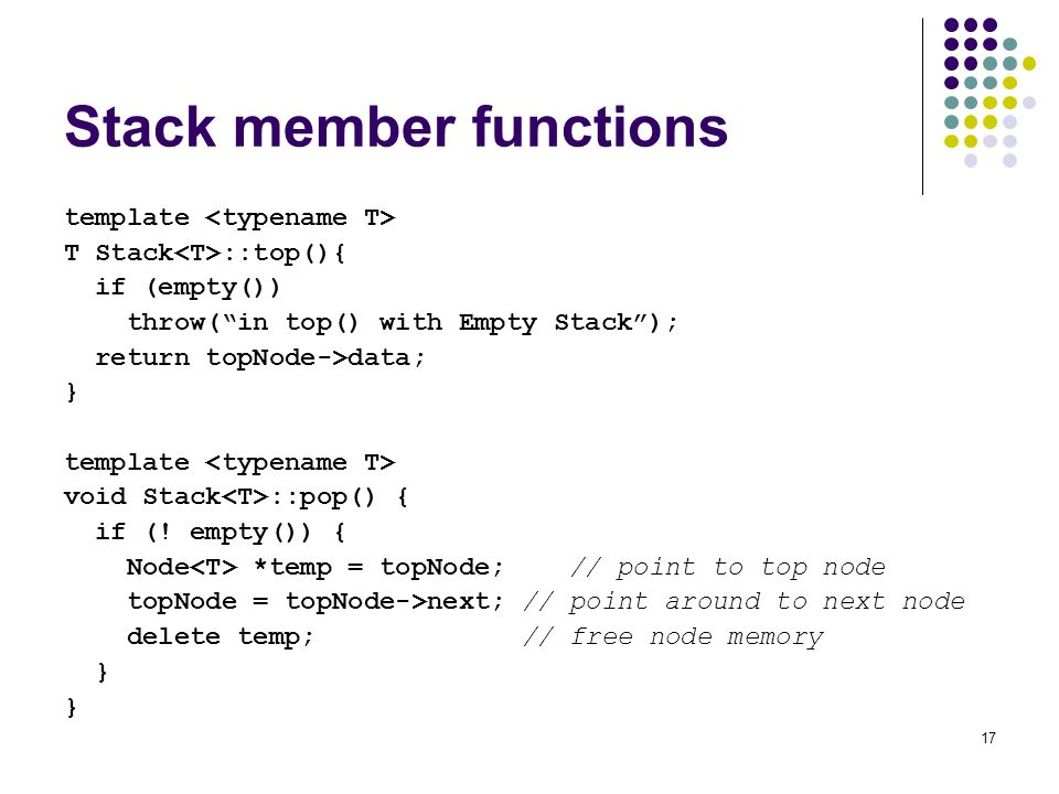 Stack member functions