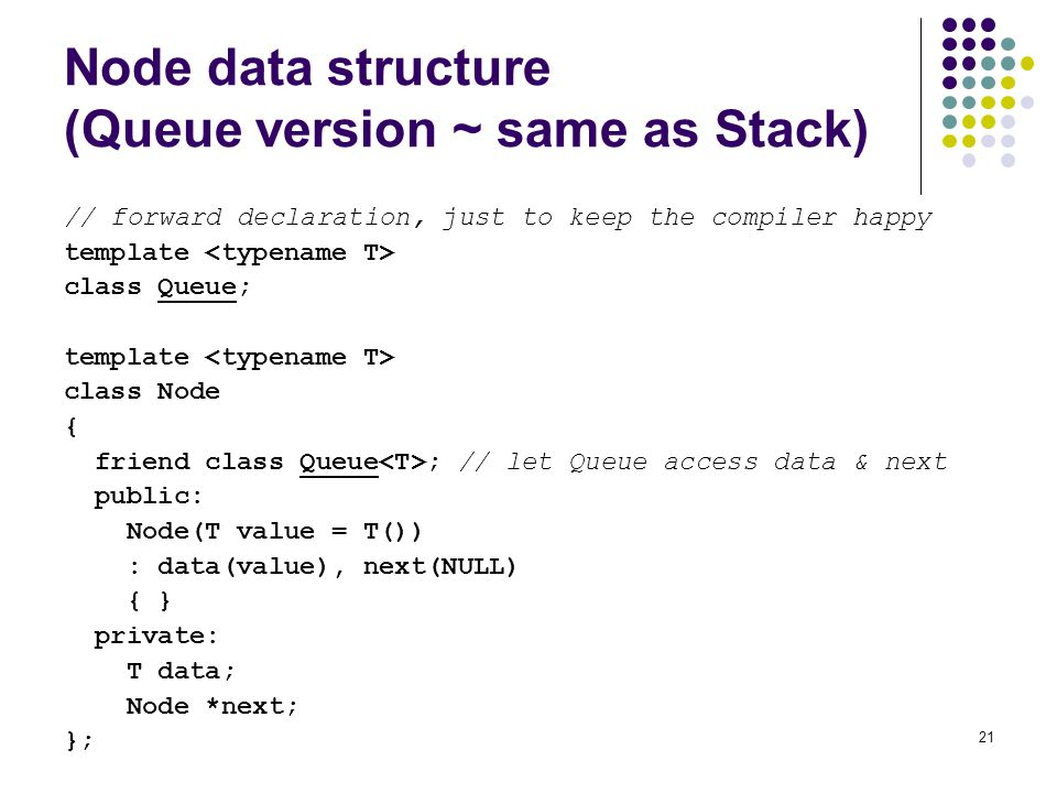 Node data structure (Queue version ~ same as Stack)