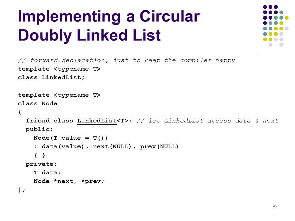 Implementing a Circular Doubly Linked List