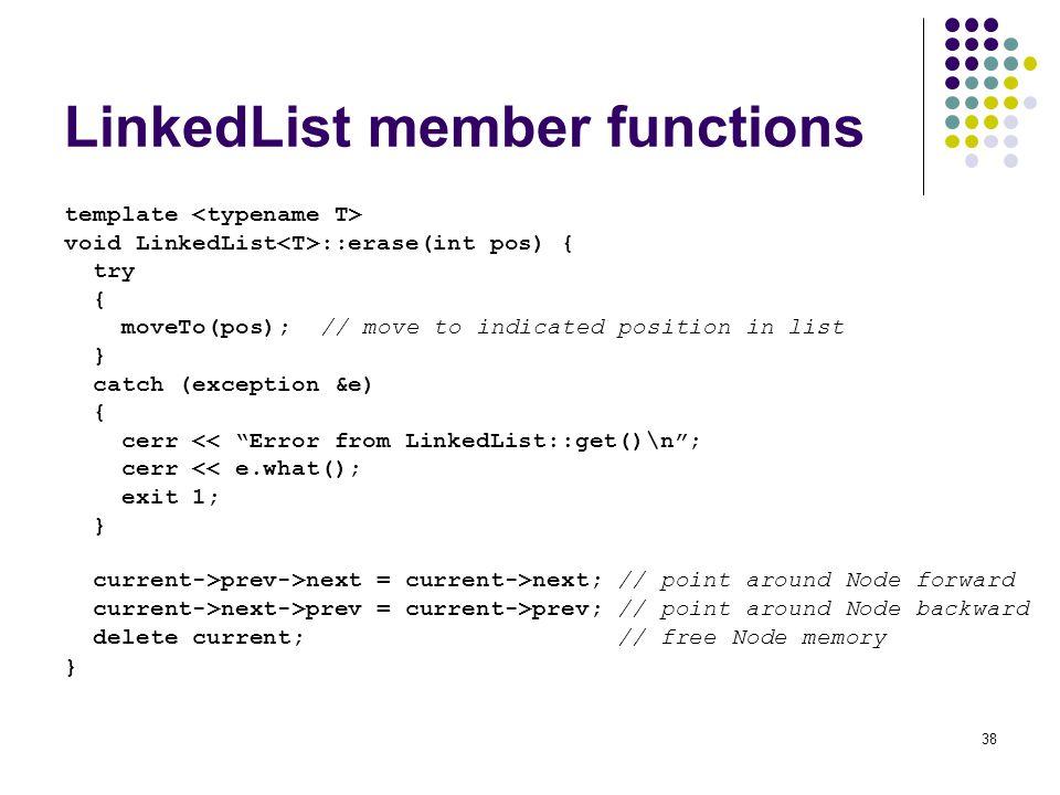 LinkedList member functions