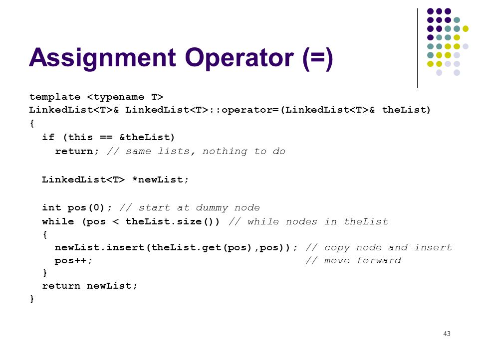 Assignment Operator (=)