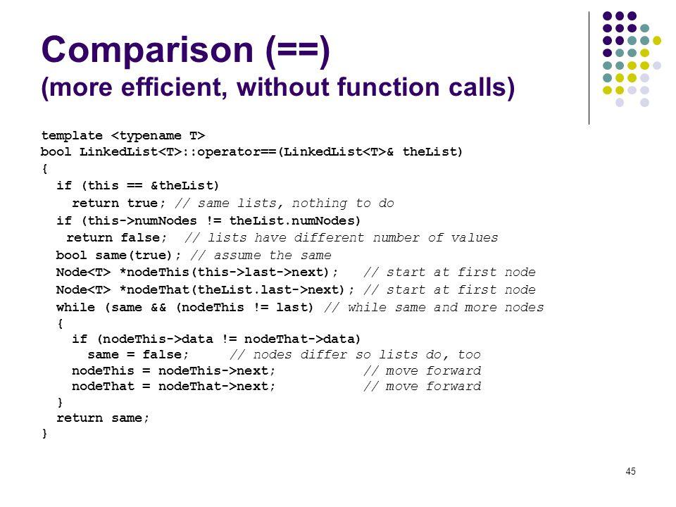 Comparison (==) (more efficient, without function calls)