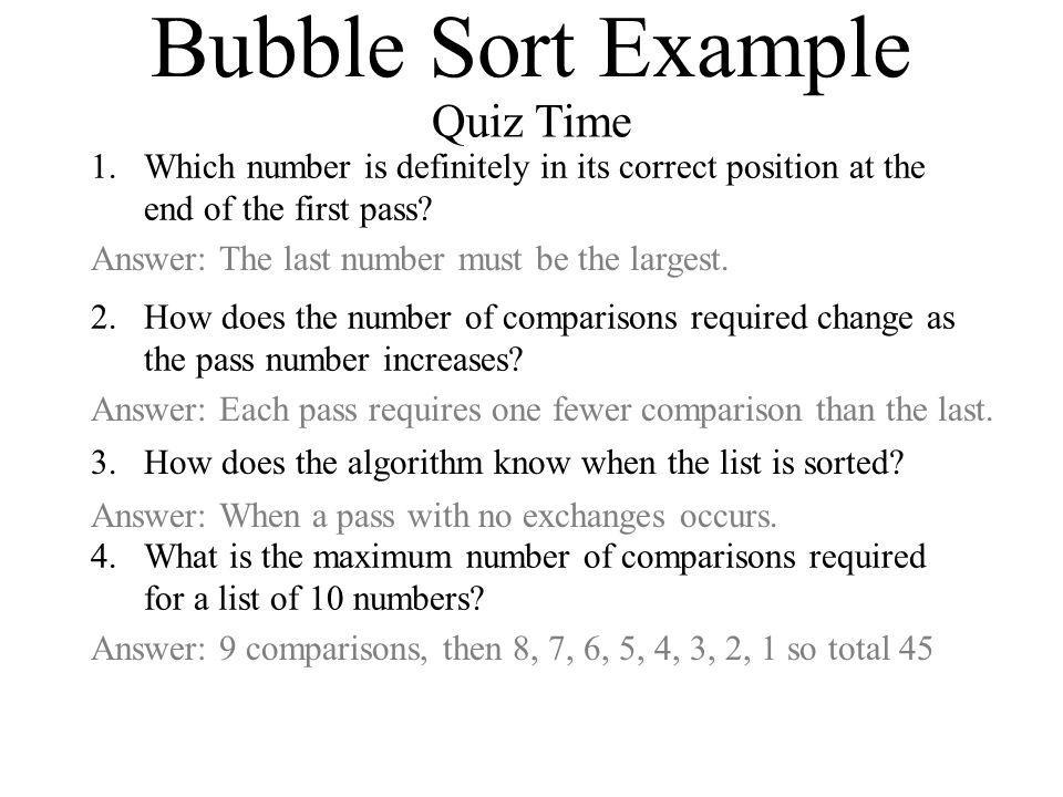 Bubble Sort Example Quiz Time
