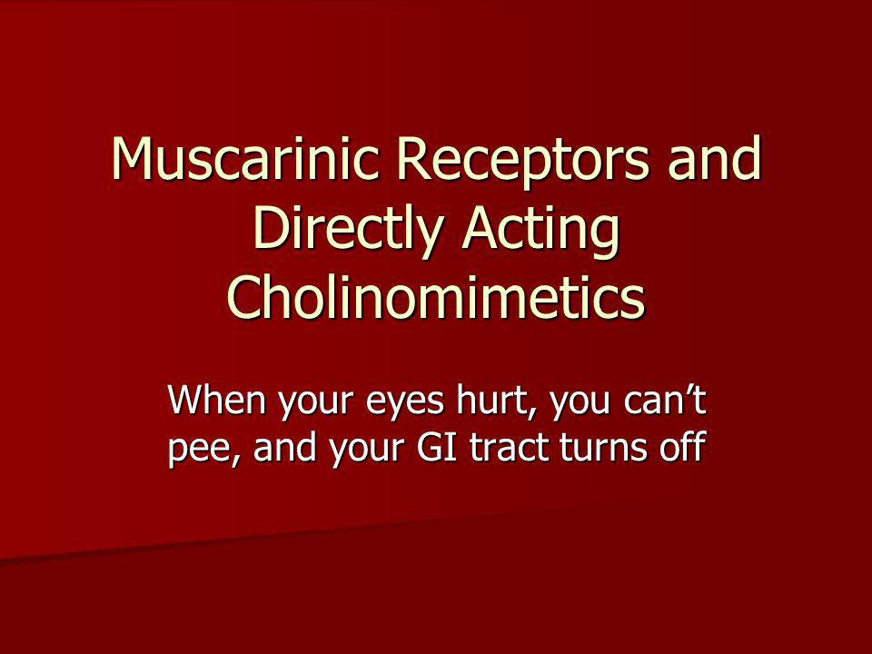 Muscarinic Receptors and Directly Acting Cholinomimetics