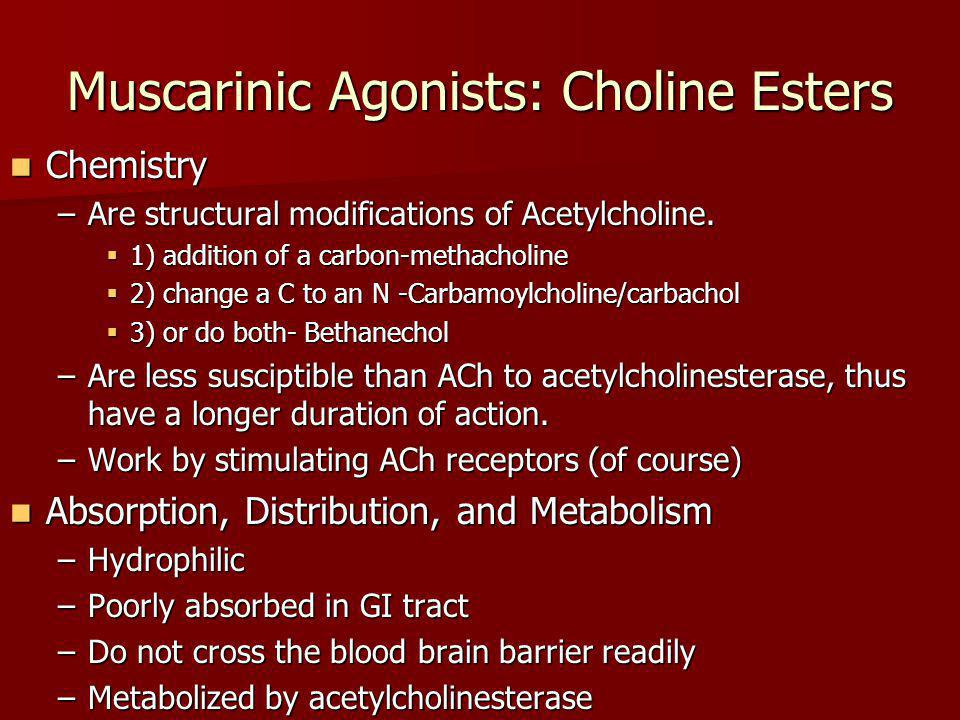 Muscarinic Agonists: Choline Esters