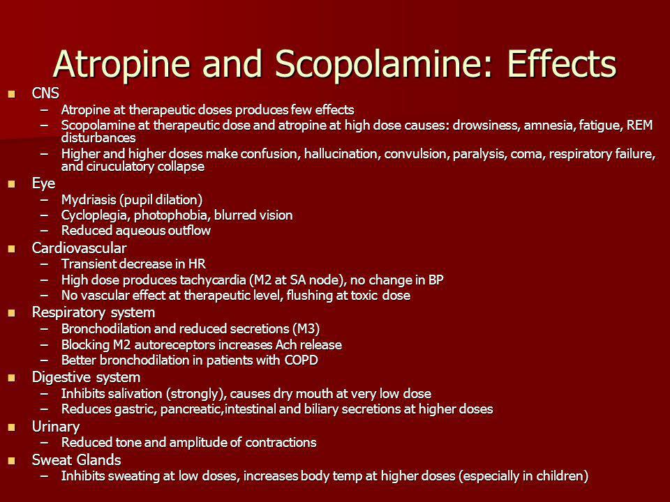 Atropine and Scopolamine: Effects