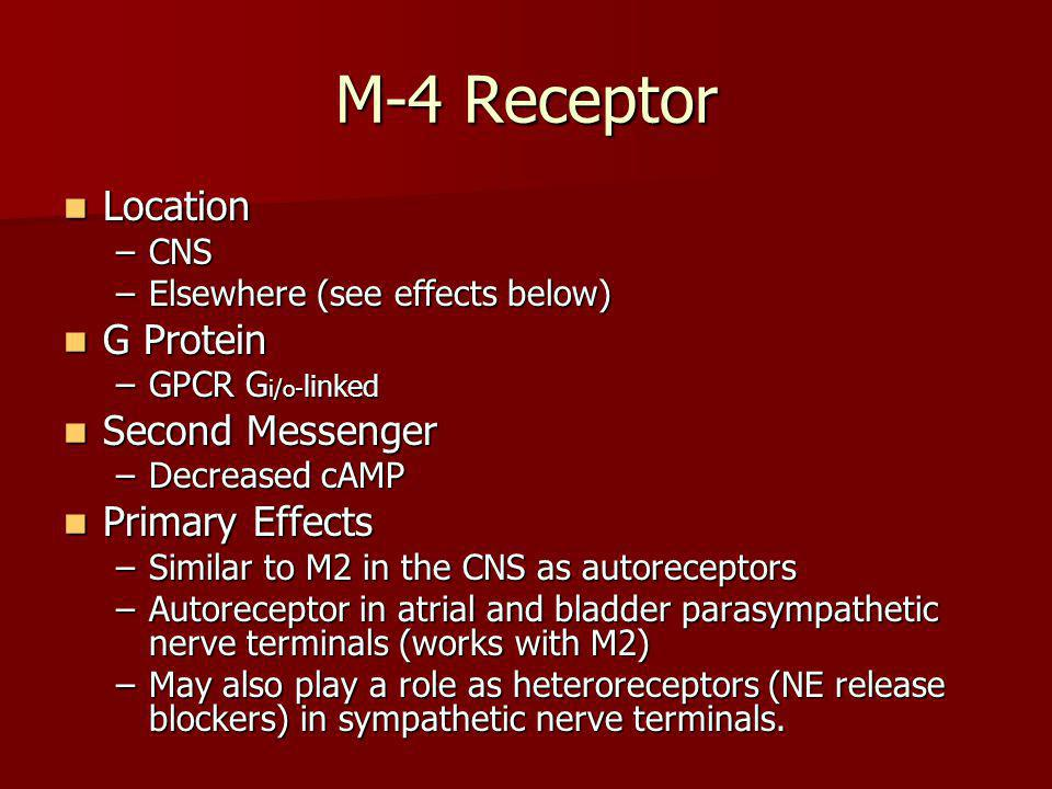M-4 Receptor Location G Protein Second Messenger Primary Effects CNS