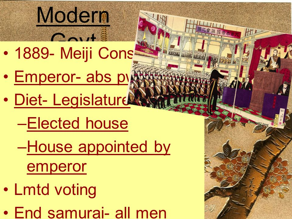 Modern Govt 1889- Meiji Const. Emperor- abs pwr Diet- Legislature