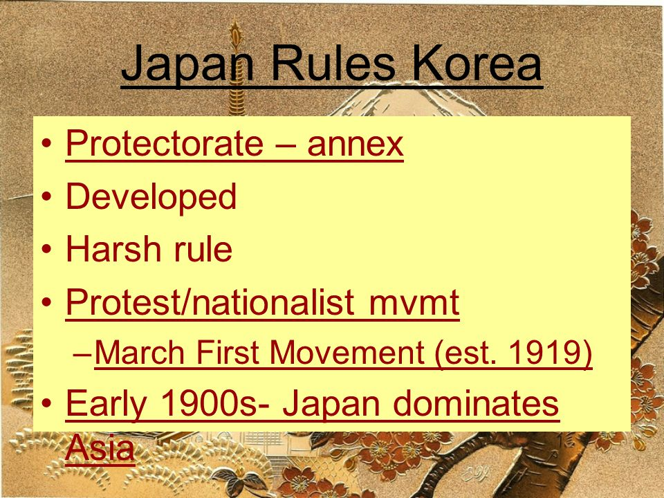 Japan Rules Korea Protectorate – annex Developed Harsh rule