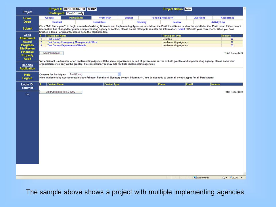 The sample above shows a project with multiple implementing agencies.