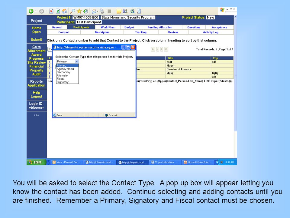 You will be asked to select the Contact Type