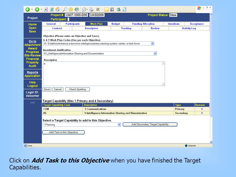 Click on Add Task to this Objective when you have finished the Target Capabilities.