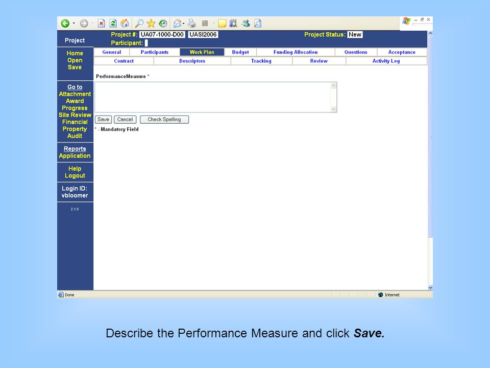 Describe the Performance Measure and click Save.