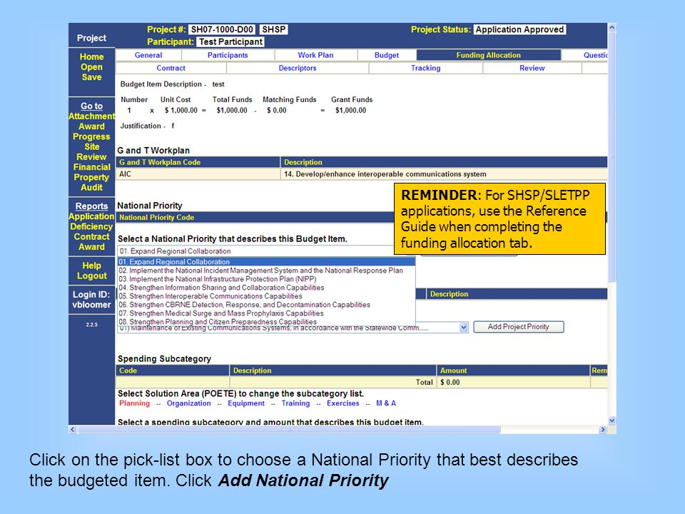 the budgeted item. Click Add National Priority