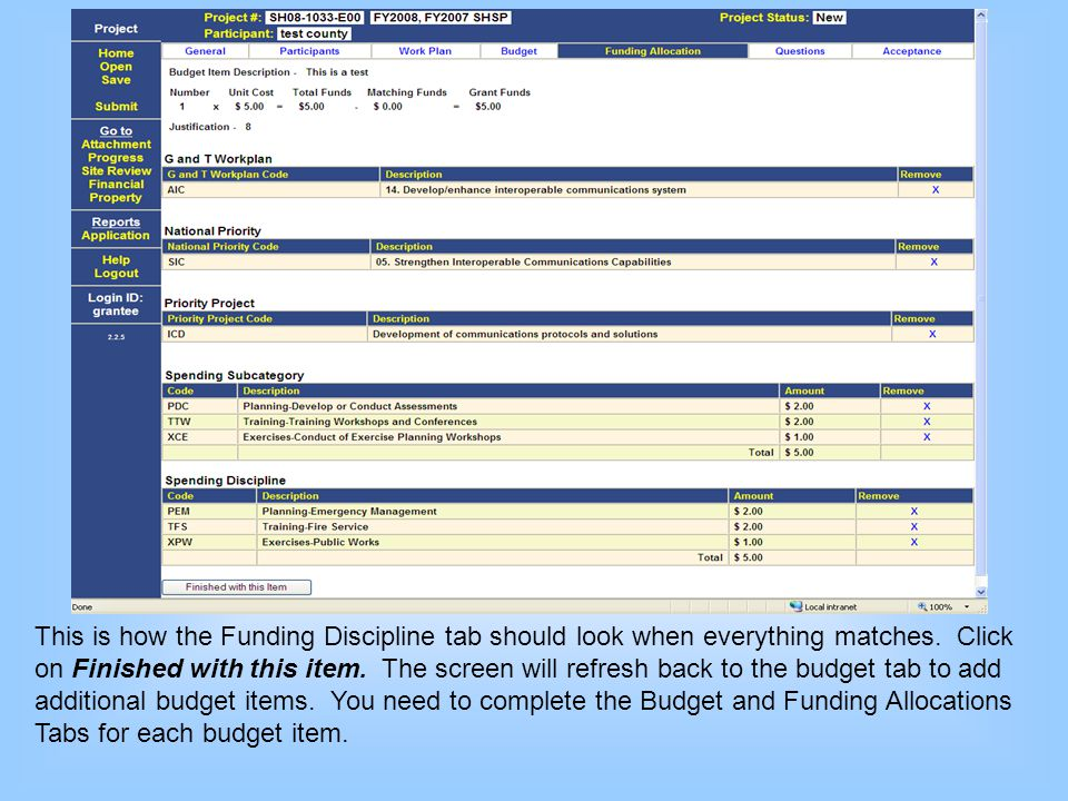 This is how the Funding Discipline tab should look when everything matches.