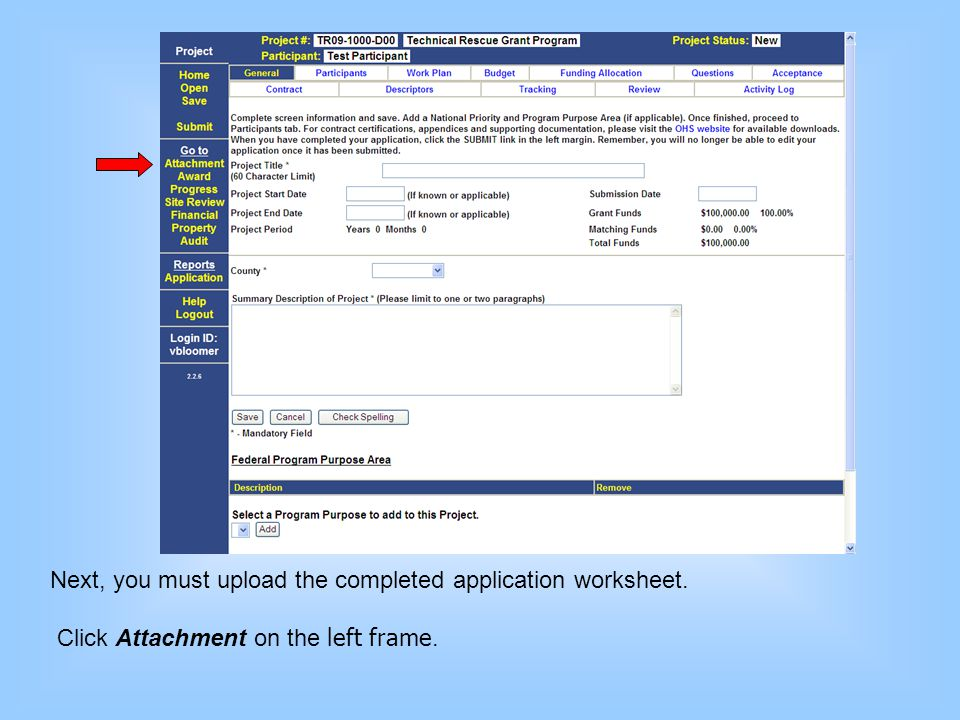 Next, you must upload the completed application worksheet.