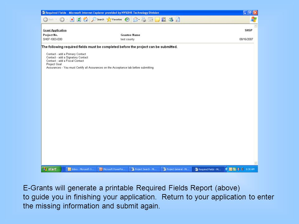 E-Grants will generate a printable Required Fields Report (above)