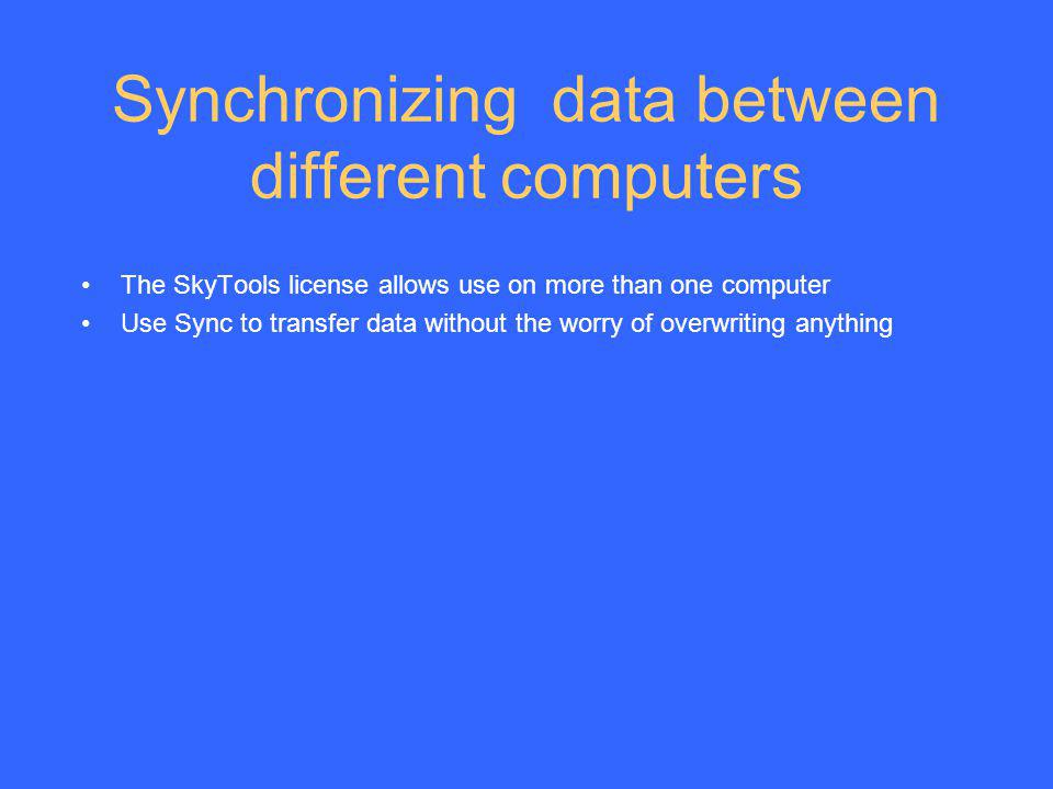Synchronizing data between different computers