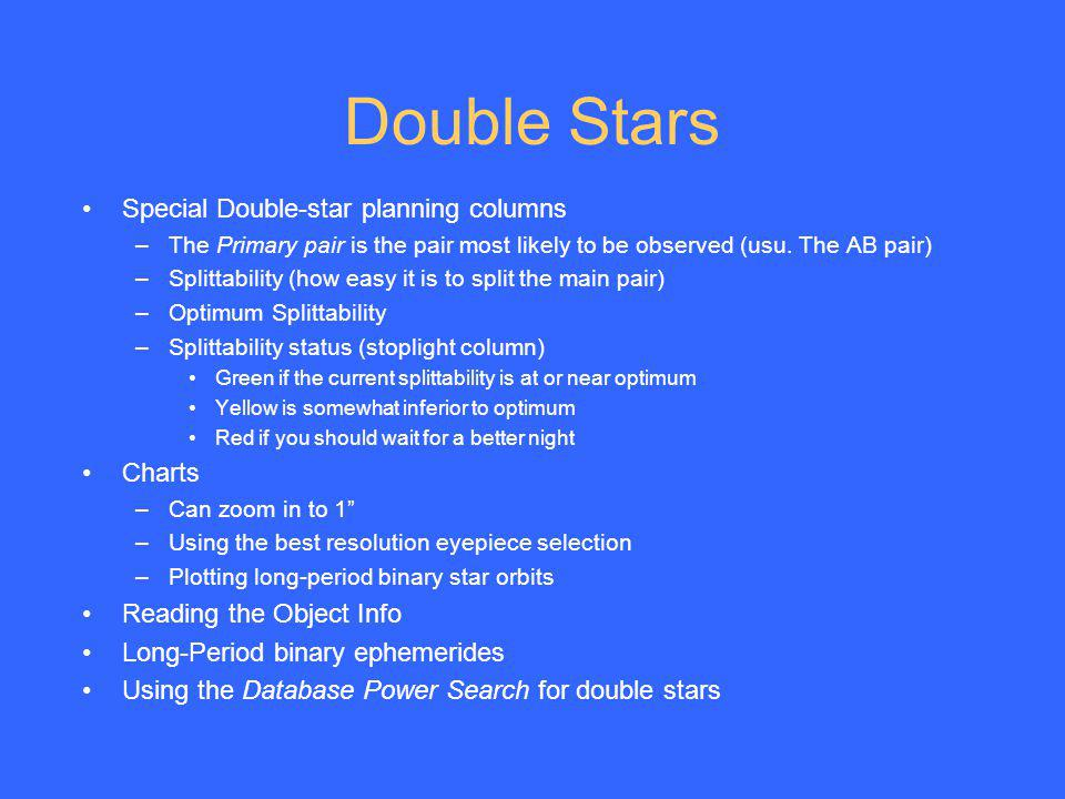 Double Stars Special Double-star planning columns Charts
