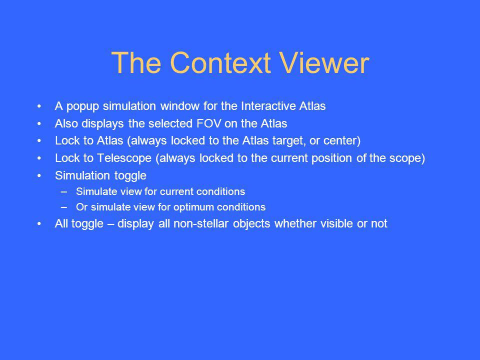 The Context Viewer A popup simulation window for the Interactive Atlas