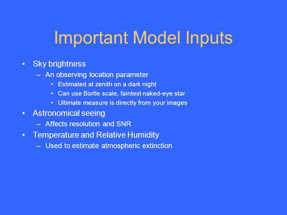 Important Model Inputs