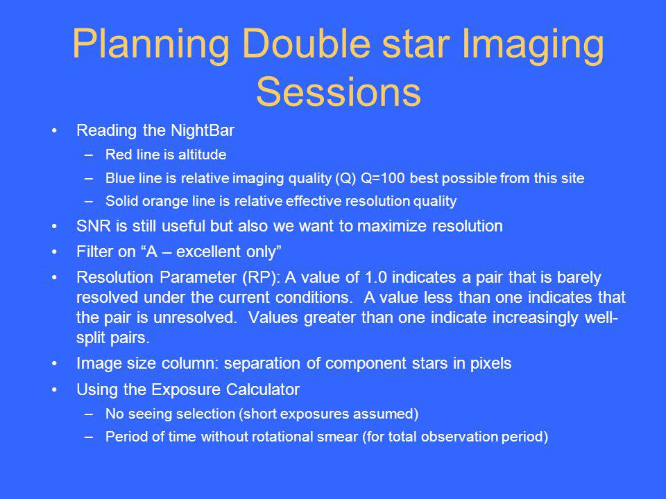Planning Double star Imaging Sessions