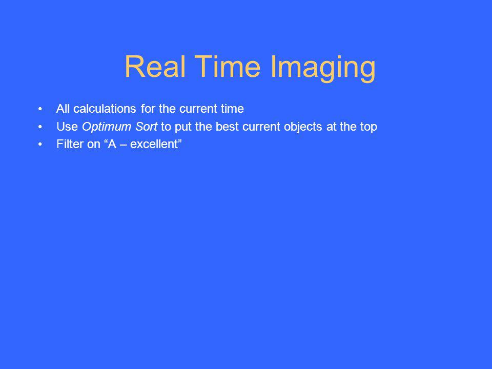Real Time Imaging All calculations for the current time