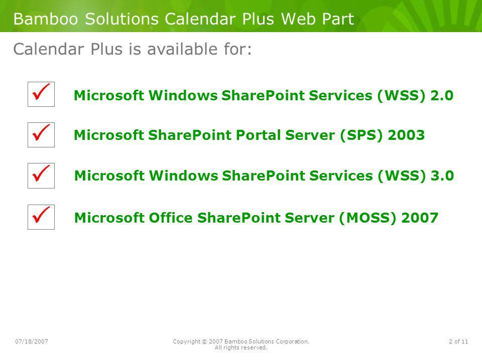 Bamboo Solutions Calendar Plus Web Part