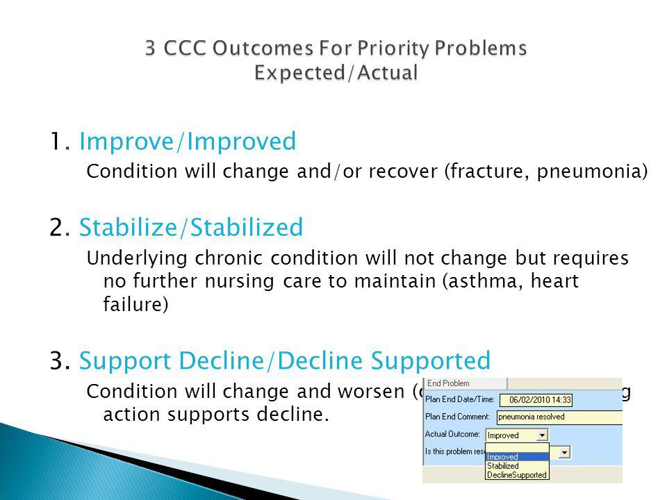 3 CCC Outcomes For Priority Problems Expected/Actual
