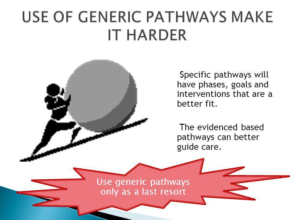 USE OF GENERIC PATHWAYS MAKE IT HARDER