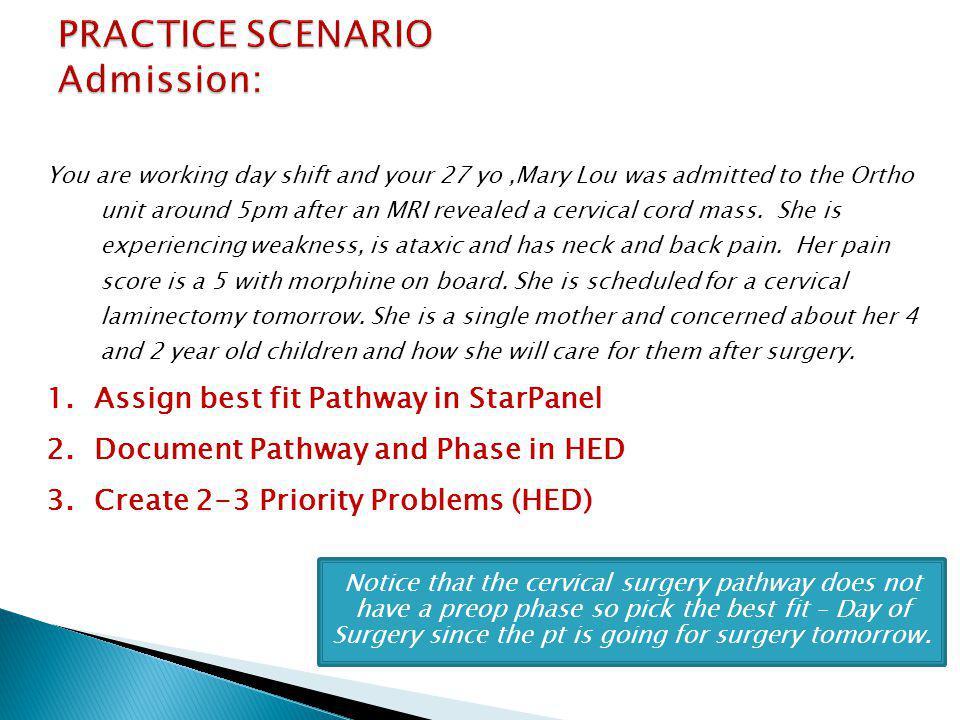 PRACTICE SCENARIO Admission: