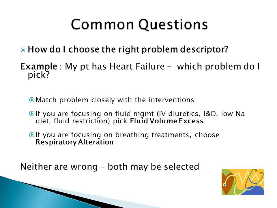 Common Questions How do I choose the right problem descriptor