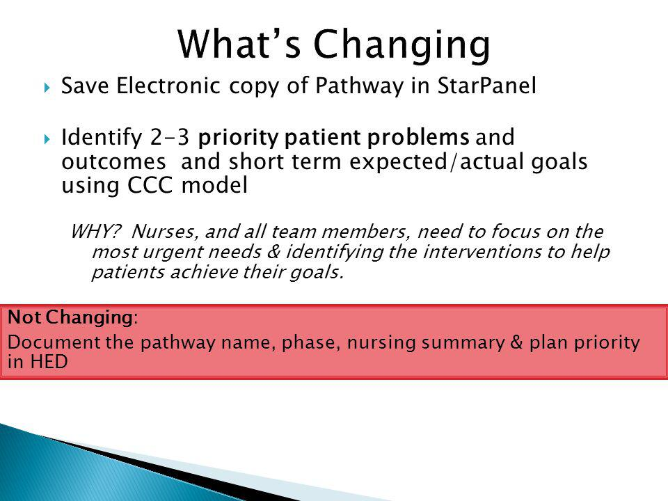 What's Changing Save Electronic copy of Pathway in StarPanel