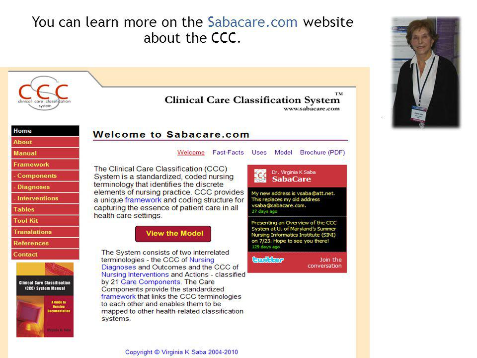You can learn more on the Sabacare.com website about the CCC.
