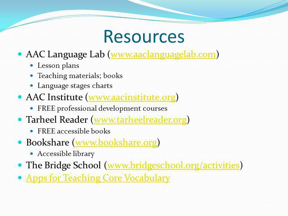 Resources AAC Language Lab (www.aaclanguagelab.com)