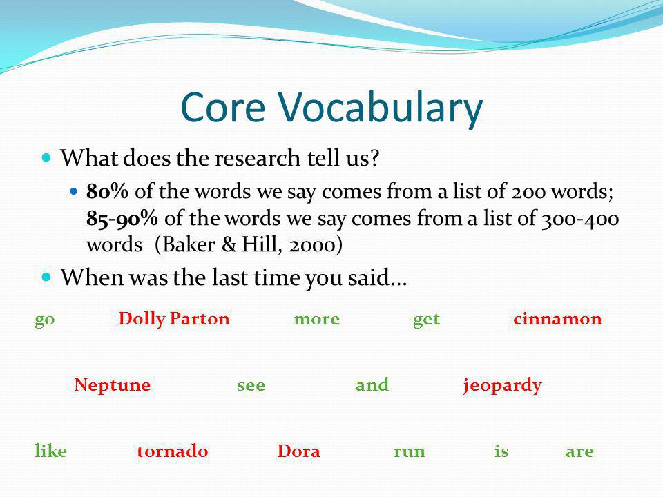 Core Vocabulary What does the research tell us