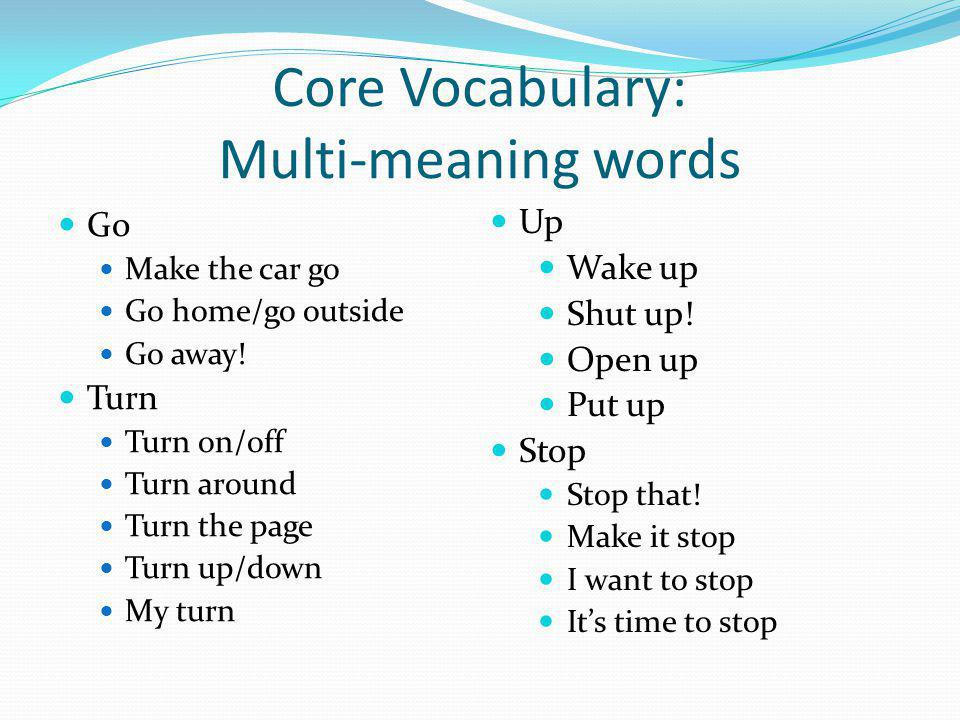 Core Vocabulary: Multi-meaning words