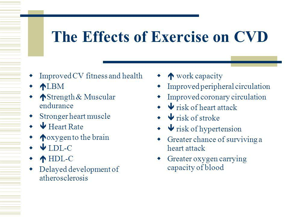 The Effects of Exercise on CVD