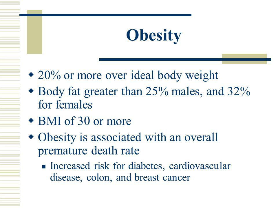 Obesity 20% or more over ideal body weight