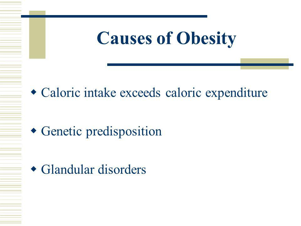 Causes of Obesity Caloric intake exceeds caloric expenditure