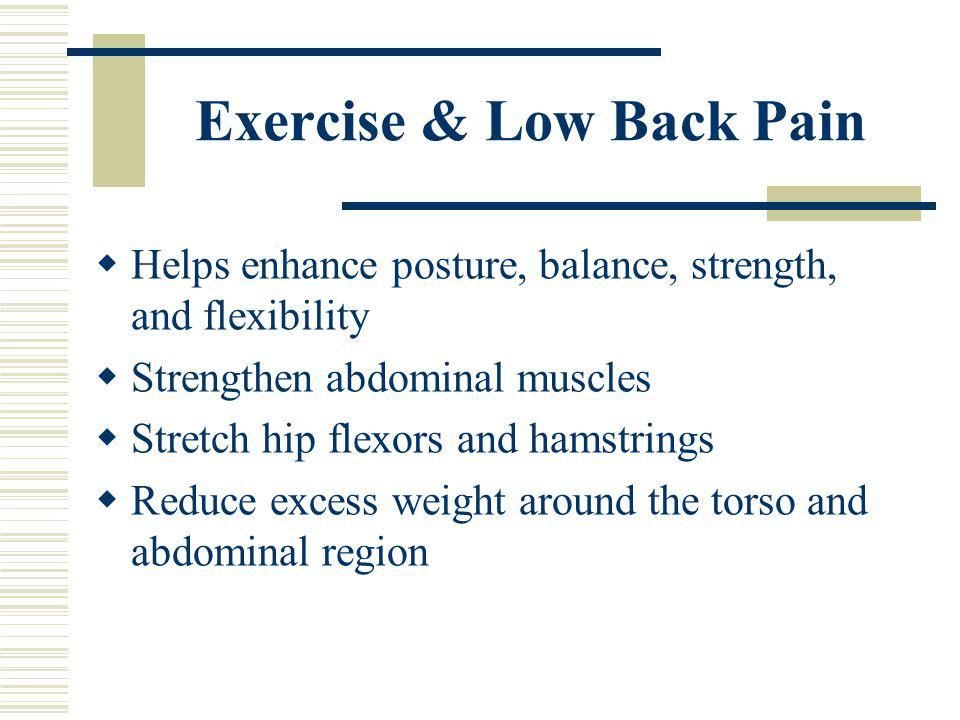 Exercise & Low Back Pain