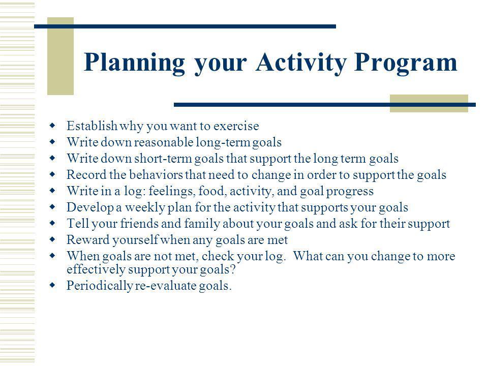 Planning your Activity Program